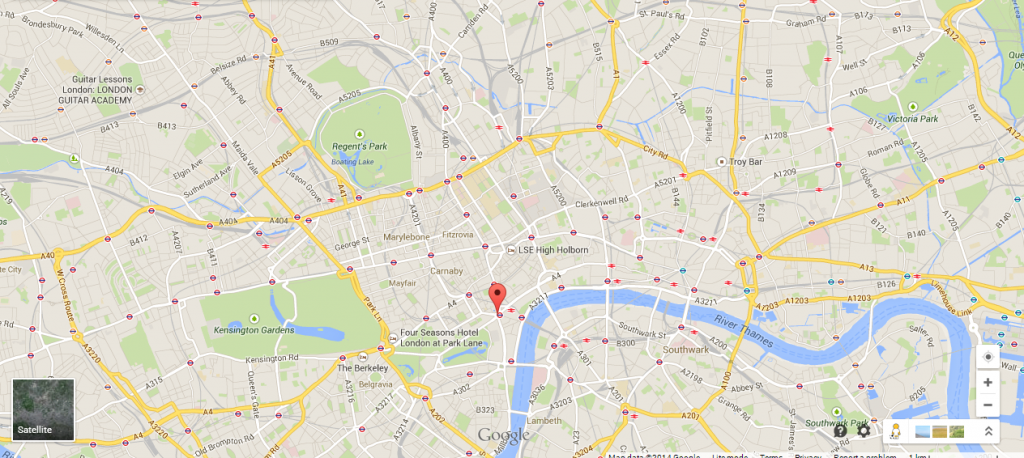 Where I teach Guitar in London - Guitar Lesson in London - North, South, West, East London