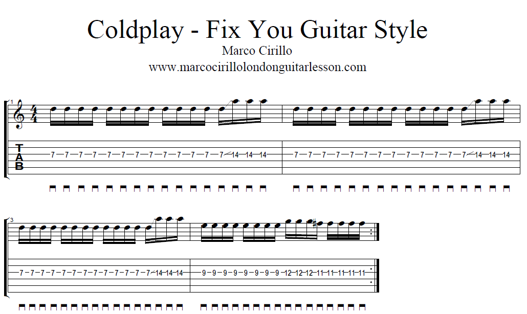 Free Guitar Lesson Online Coldplay Fix You Guitar Lesson Style